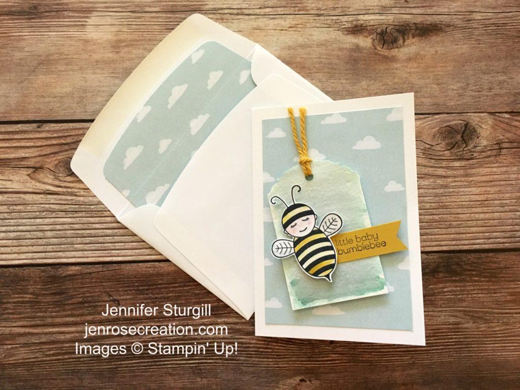 Baby Bumblebee, Jen Rose Creation, Stampin' Up!, Jennifer Sturgill, Baby Shower, Congratulations, Baby, Boy