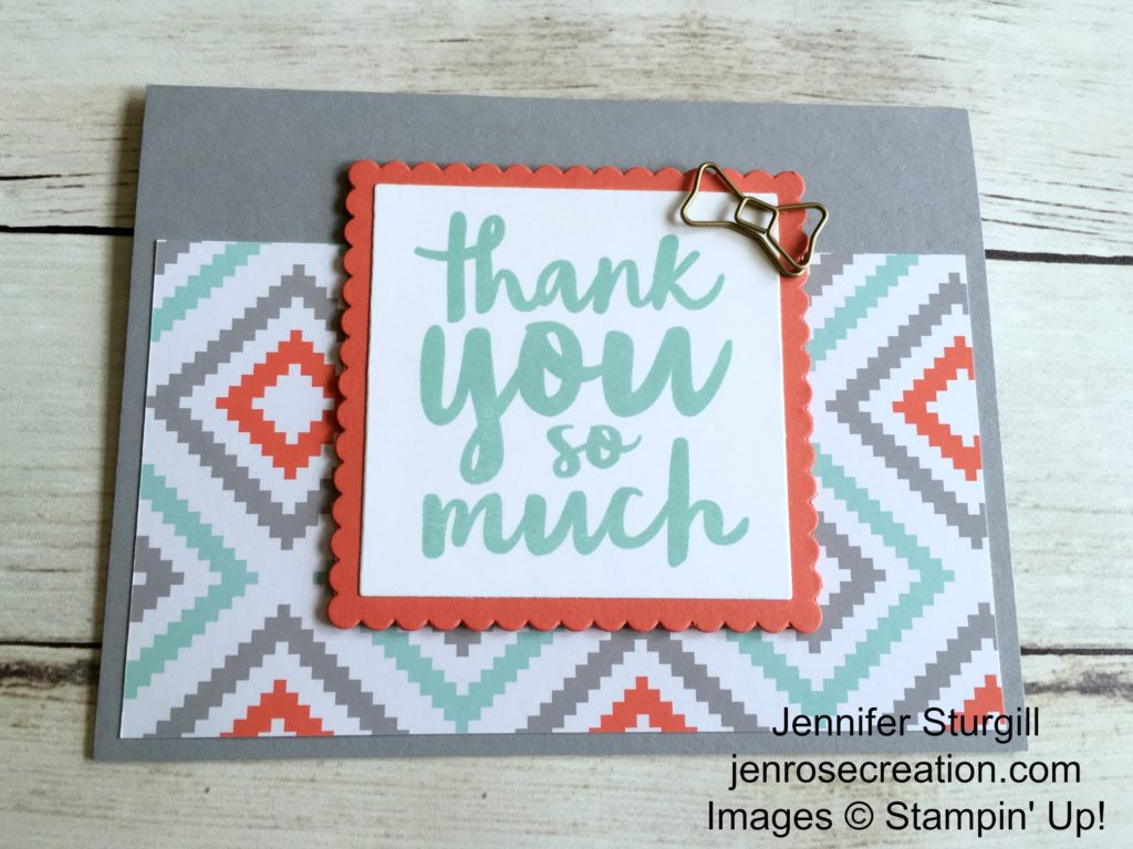 A Little Foxy Thank You, Jen Rose Creation, Stampin' Up!, Jennifer Sturgill, Thankful Thoughts, A Little Foxy Designer Series Paper Stack, Layering Squares Framelits, Thanks, Thank You, StampinUp