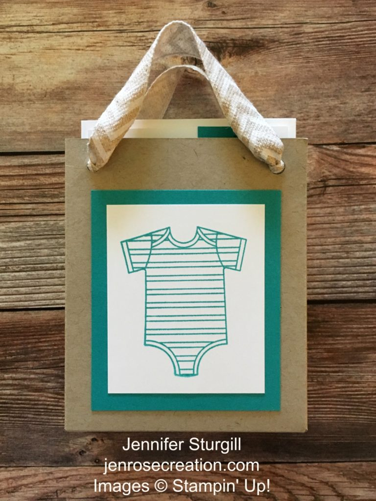 Baby Thank You Gift Bag, Jen Rose Creation, Stampin' Up!, Jennifer Sturgill, Gift Bag Punch Board, Made With Love, Baby Boy, Baby Shower, Thank You, Bermuda Bay, StampinUp