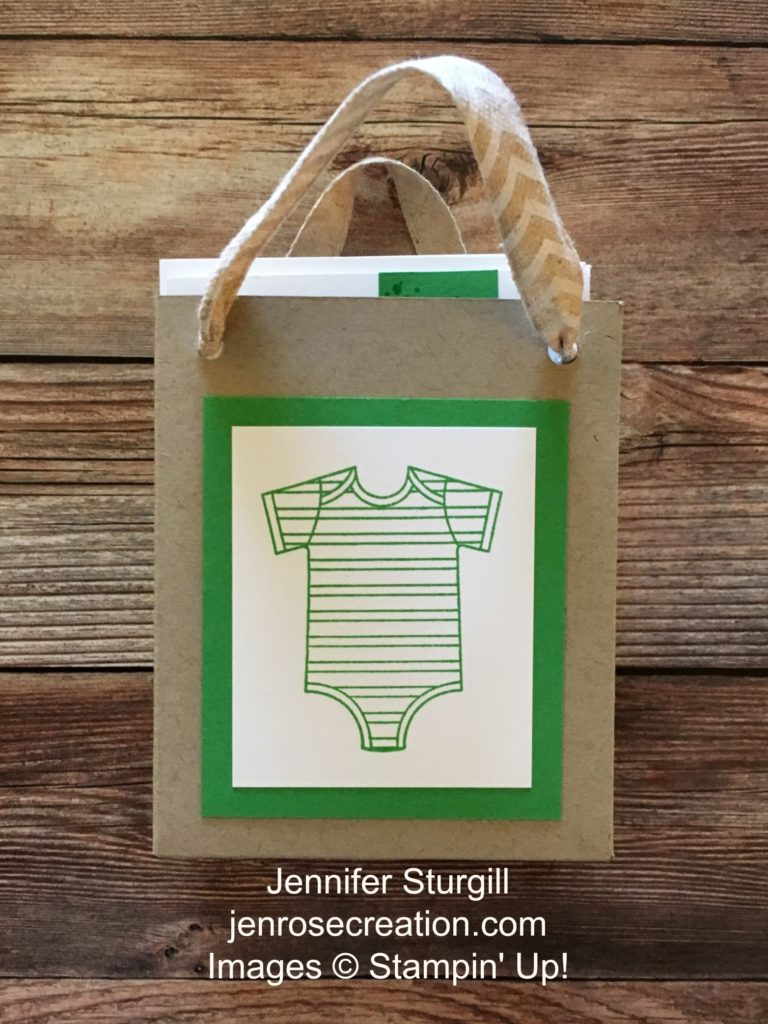 Baby Thank You Gift Bag, Jen Rose Creation, Stampin' Up!, Jennifer Sturgill, Gift Bag Punch Board, Made With Love, Baby Boy, Baby Shower, Thank You, Cucumber Crush, StampinUp