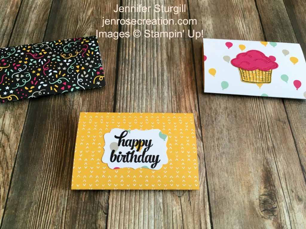 Birthday Gift Card Holder Backside, Jen Rose Creation, Stampin' Up!, Jennifer Sturgill, Sprinkles of Life, Tin of Cards, It's My Party Designer Series Paper, DSP, Happy Birthday, Birthday, Fancy Fold, StampinUp