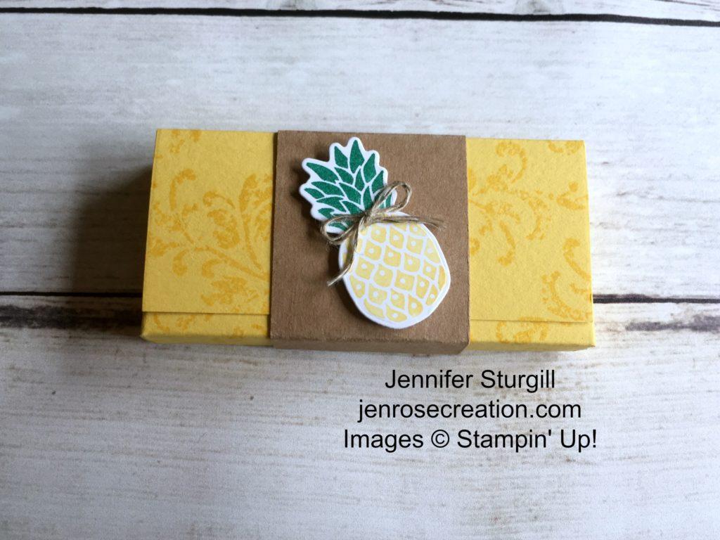 Pineapple Gum Holder, Jen Rose Creation, Stampin' Up!, Jennifer Sturgill, Pop of Paradise, Timeless Textures, Gum Holder, 3D, 3-D, StampinUp