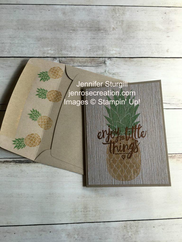 Serene Scenery Pineapple, Jen Rose Creation, Stampin' Up!, Jennifer Sturgill, Pineapple, Layering Love, Pop of Paradise, Designer Series Paper, DSP, Copper Embossing Powder, StampinUp