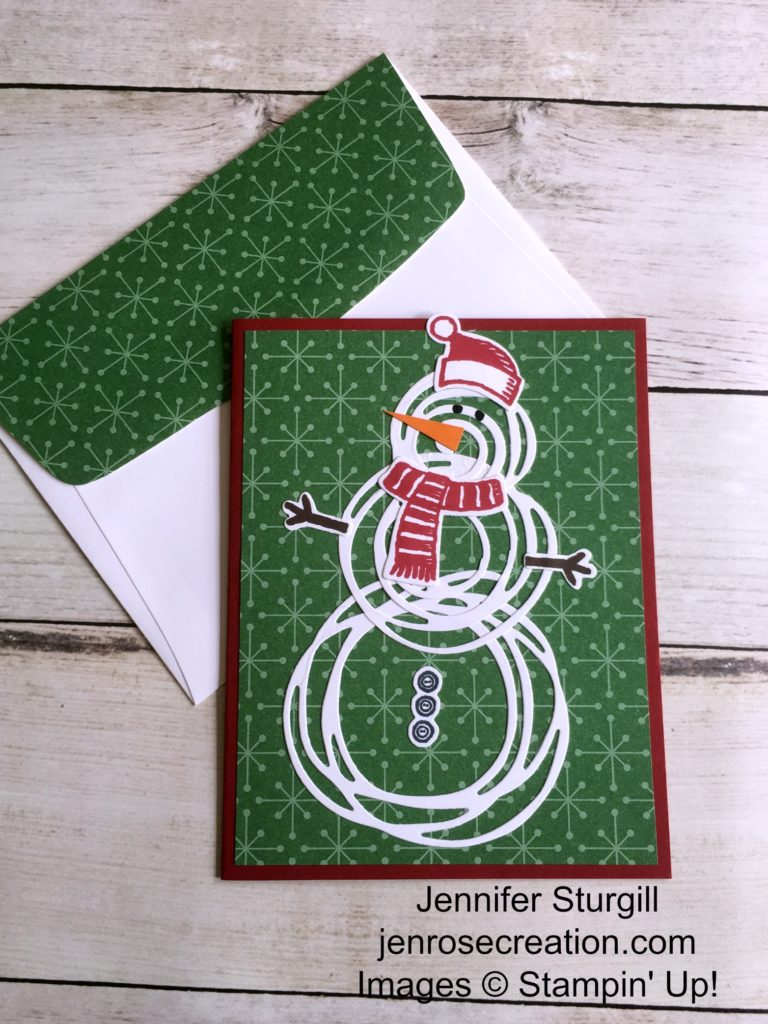 Swirly Bird Snowman, Jen Rose Creation, Stampin' Up!, Jennifer Sturgill, Snow Place, Swirly Scribbles Thinlits, Snow Friends Thinlits, Christmas, XMas, Christmas Cards, StampinUp