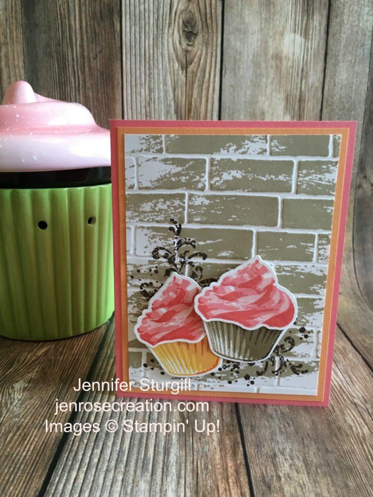 Vanilla and Chocolate Cupcake, Jen Rose Creation, Stampin' Up!, Jennifer Sturgill, Sweet Cupcake, Watercolor Wash, Timeless Textures, Tin of Cards, Cupcake Cutouts, Bundle, Brick Wall Embossing Folder, Birthday, Happy Birthday, StampinUp