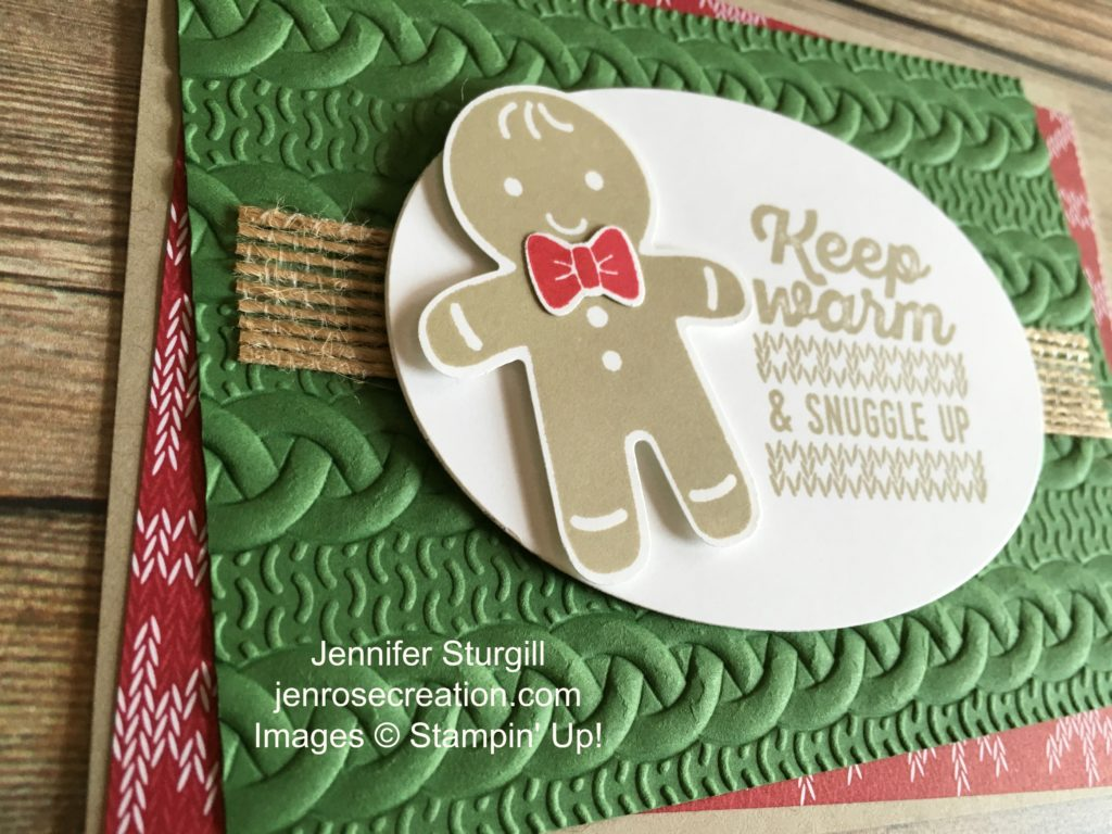 Gingerbread man close up, Jen Rose Creation, Stampin' Up!, Jennifer Sturgill, Cookie Cutter Christmas, Wrapped in Warmth, Cookie Cutter Builder Punch, Cable Knit Dynamic Embossing Folder, Holiday, StampinUp