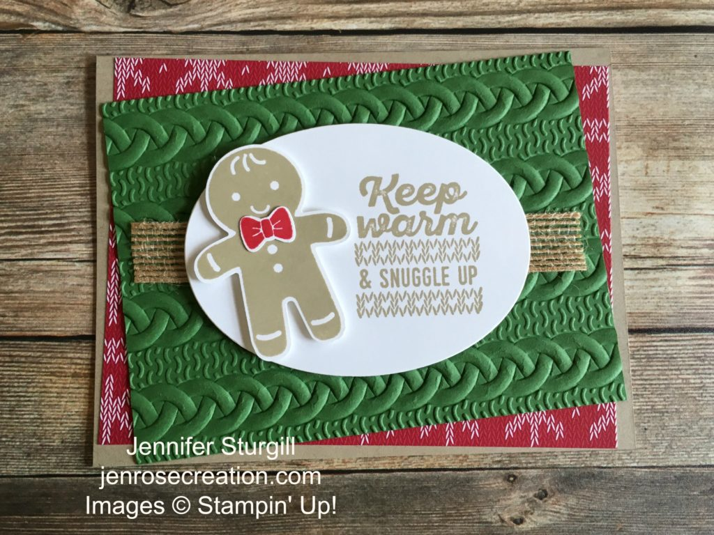 Gingerbread man sneak peek, Jen Rose Creation, Stampin' Up!, Jennifer Sturgill, Cookie Cutter Christmas, Wrapped in Warmth, Cookie Cutter Builder Punch, Cable Knit Dynamic Embossing Folder, Holiday, StampinUp