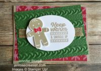 Gingerbread man sneak peek close up, Jen Rose Creation, Stampin' Up!, Jennifer Sturgill, Cookie Cutter Christmas, Wrapped in Warmth, Cookie Cutter Builder Punch, Cable Knit Dynamic Embossing Folder, Holiday, StampinUp