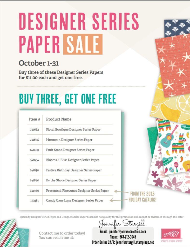 October Designer Series Paper Sale, Jen Rose Creation, Stampin' Up!, Jennifer Sturgill, DSP