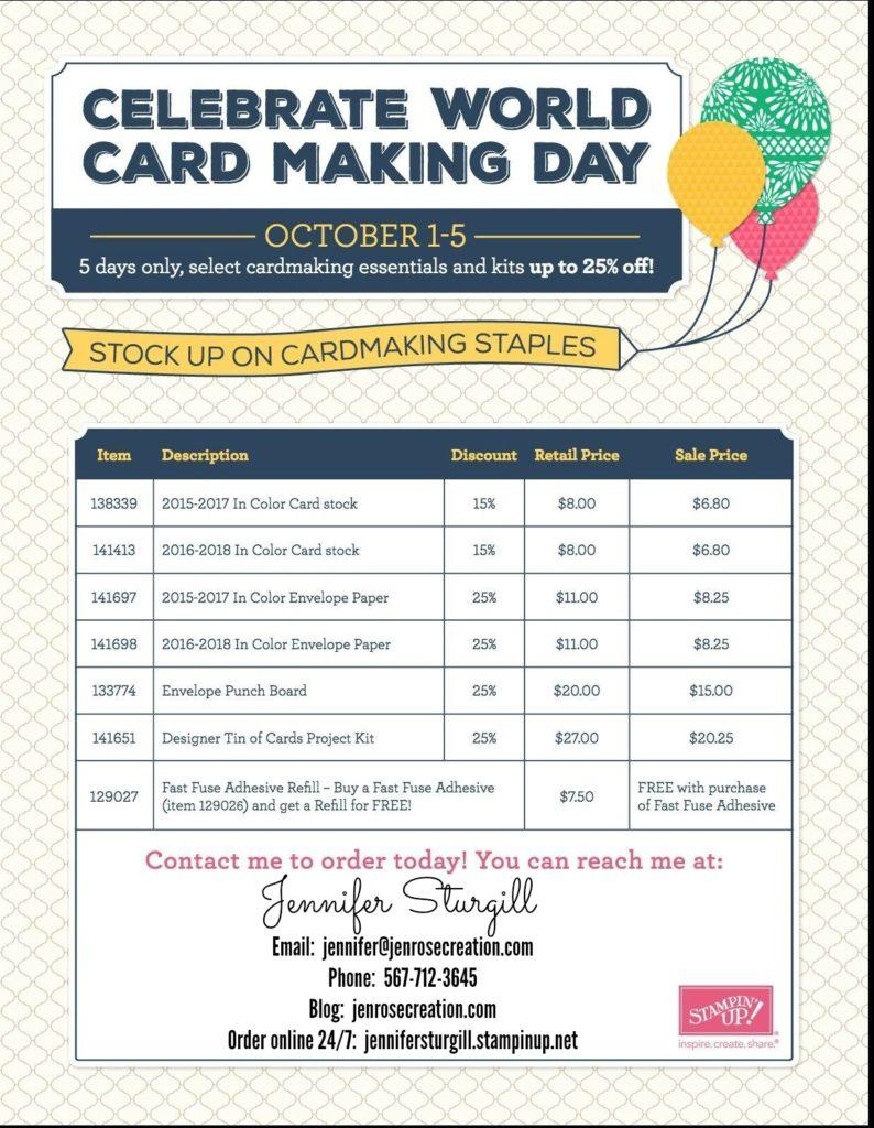 World Card Making Day, Jen Rose Creation, Stampin' Up!, Jennifer Sturgill, StampinUp